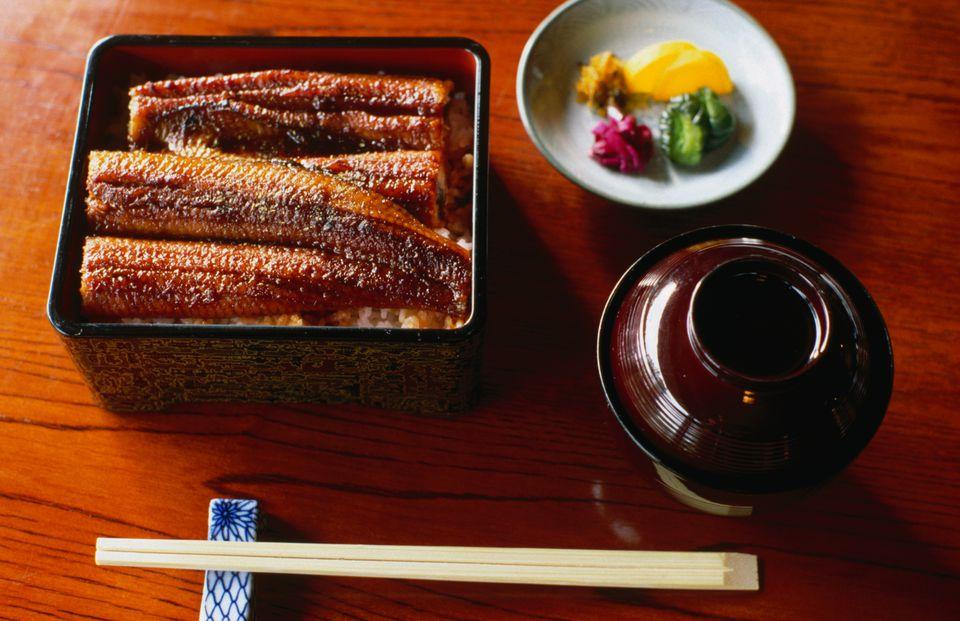 A spread of unagi, fried eel