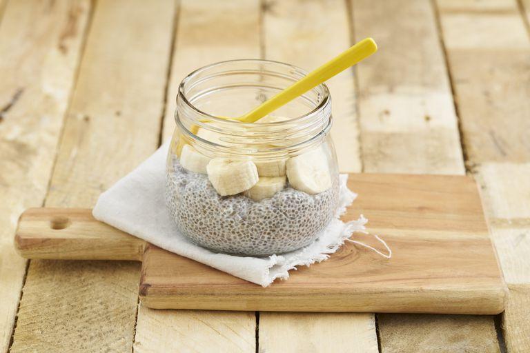 Mason jar of chia pudding with sliced bananas