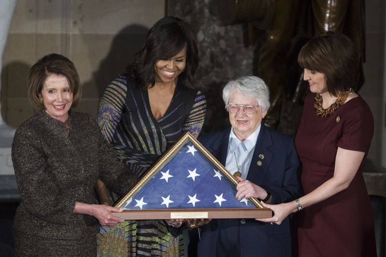 Nancy Pelosi, Michelle Obama and Cathy McMorris Rodgers honor women veterans and retired Air Force Brigadier Gen. Wilma Vaught