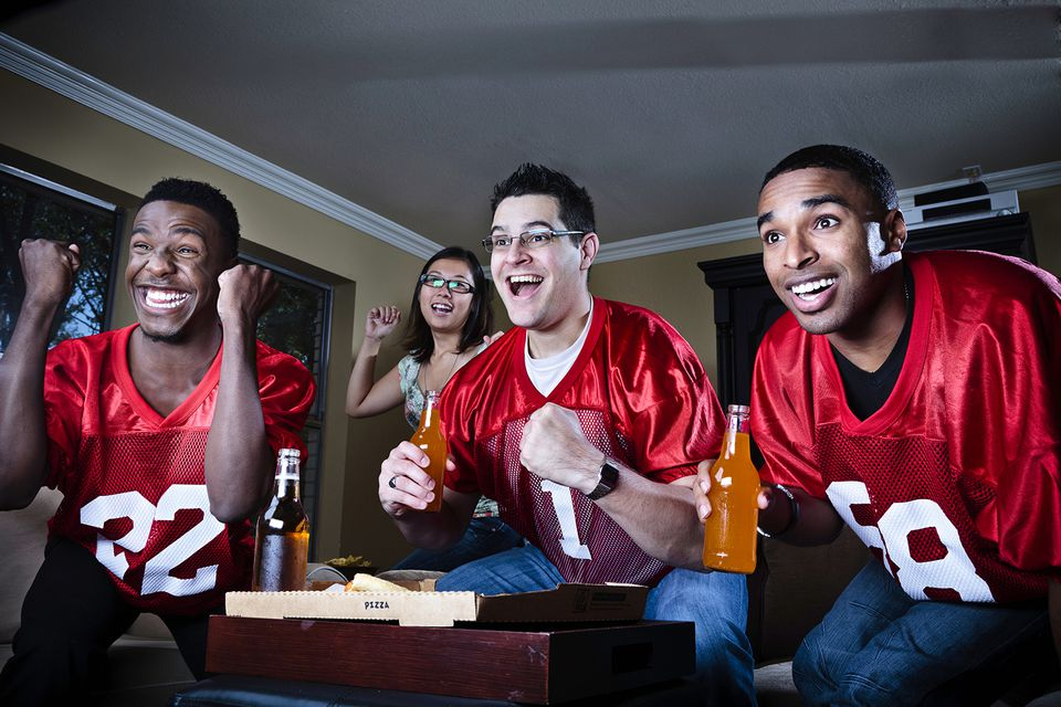 Watching the football game with friends