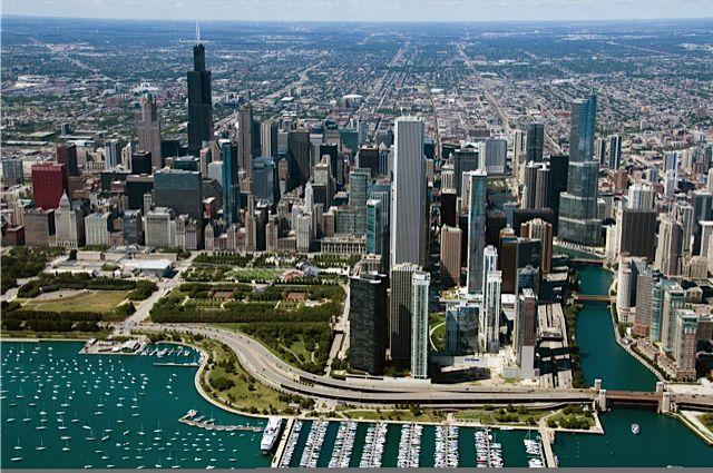 Radisson Blu Aqua Hotel Chicago, a modern skyscraper.