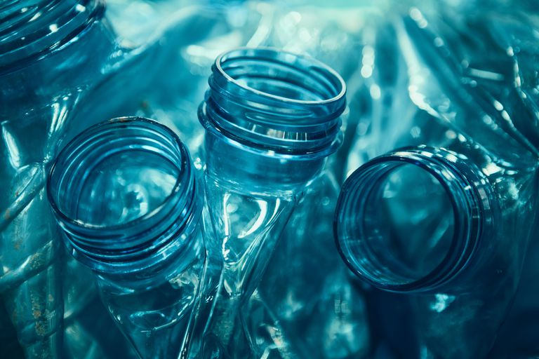 Plastic Bottles, Crushed and Ready to Recycle