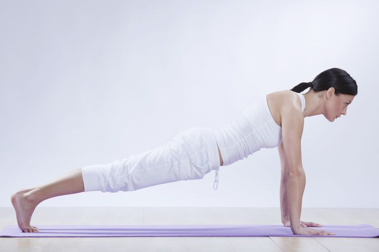 The starting position, a plank pose.