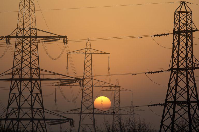 Pylons in Radley Village, sunset