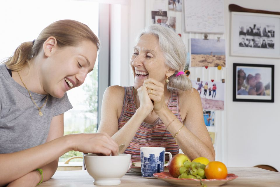 mother and daughter eating