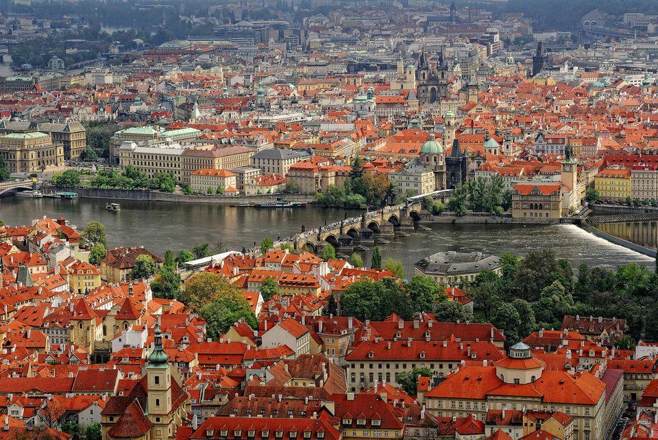 View of Prague, aerial
