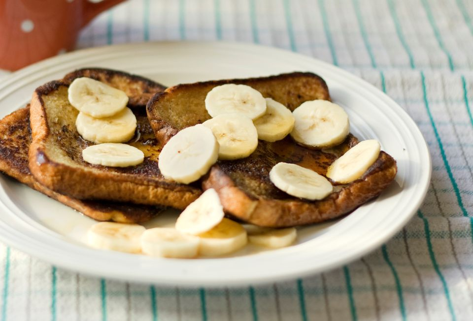 Easy vegan French toast topped with banana slices