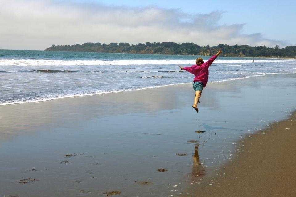 Jumping for Joy on Stinson Beach