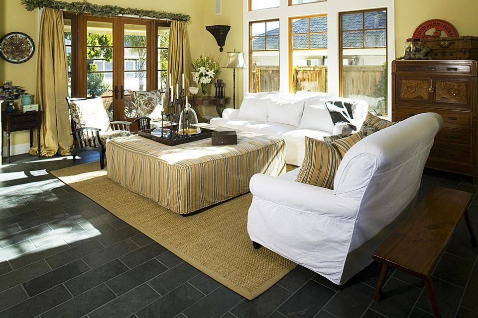 Slipcovered Furniture in Living Room with High Ceiling