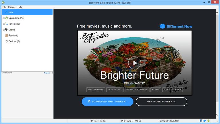 Screenshot of uTorrent in Windows 8