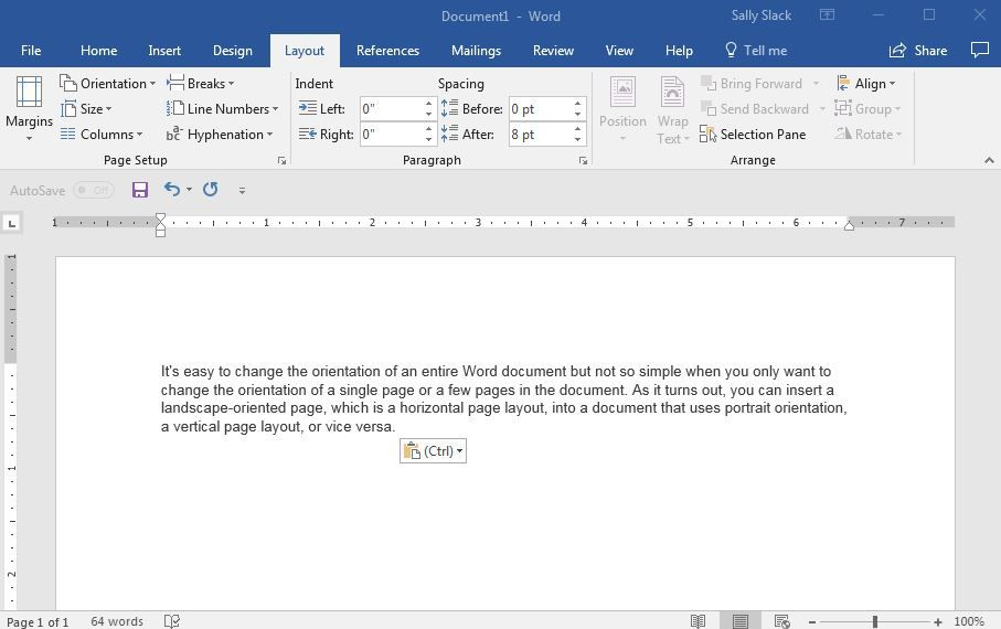 Change The Orientation Of A Single Page In Word