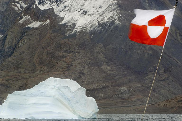 Greenland flag on tourist vessel, Greenland