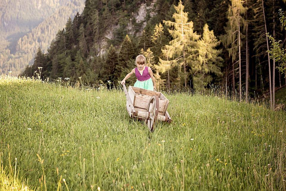 Child pushing wheelbarrow in field.