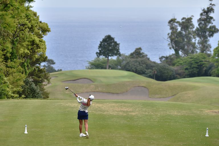 Pro golfer Bo-Mee Lee tees off during the Fujisankei Ladies Classic tournament in Japan