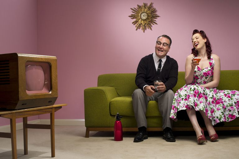 Retro Couple Watching an Old TV