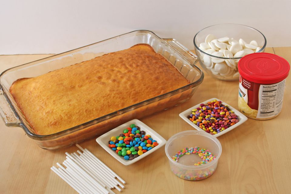 A picture of the ingredients needed to make cake-pops