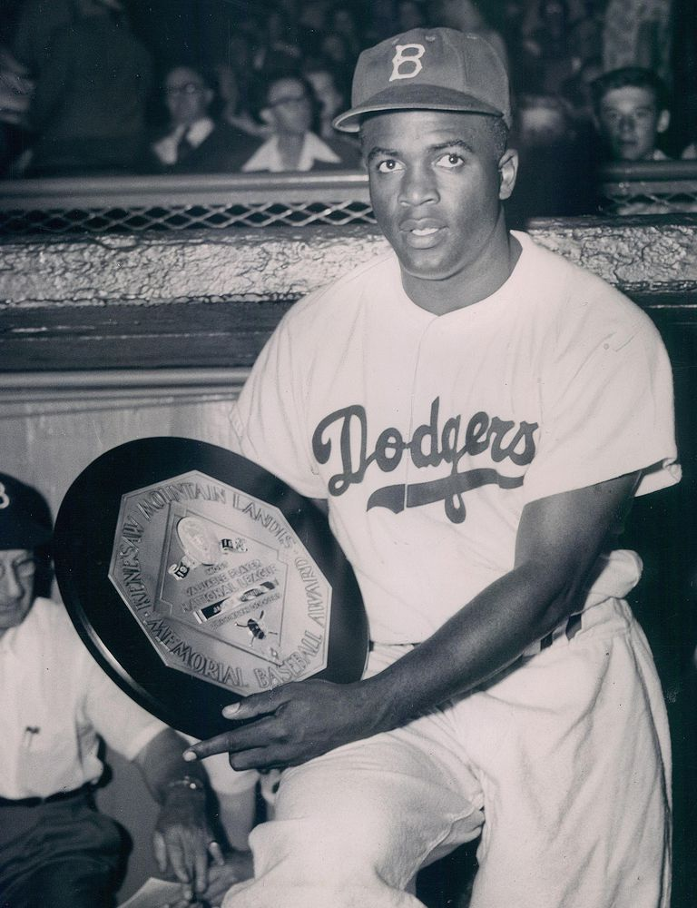 Jackie Robinson with his Most Valuable Player Award