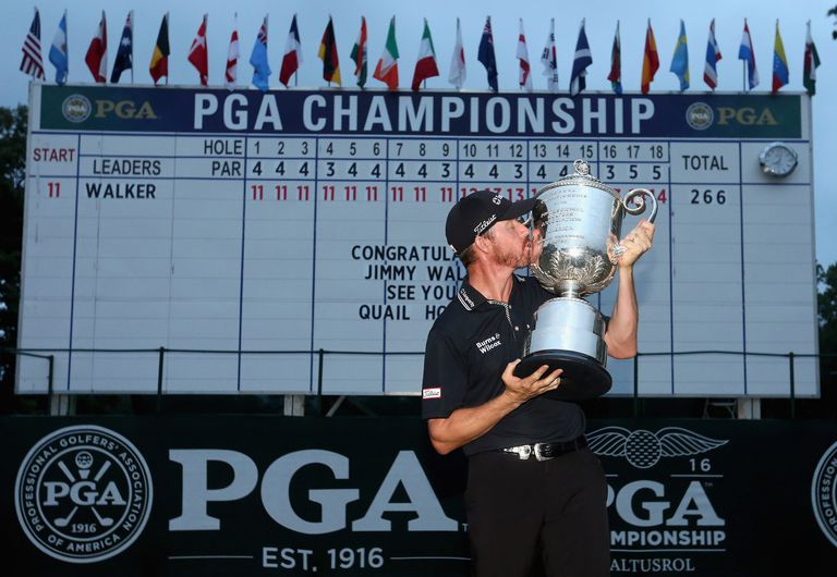 2016 PGA Championship winner Jimmy Walker with the trophy