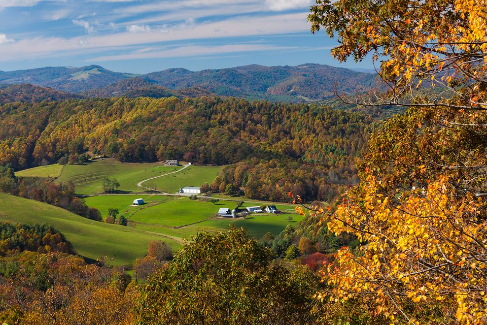 North Carolina, Blowing Rock, View of autumn landscape from Blue Ridge Parkway
