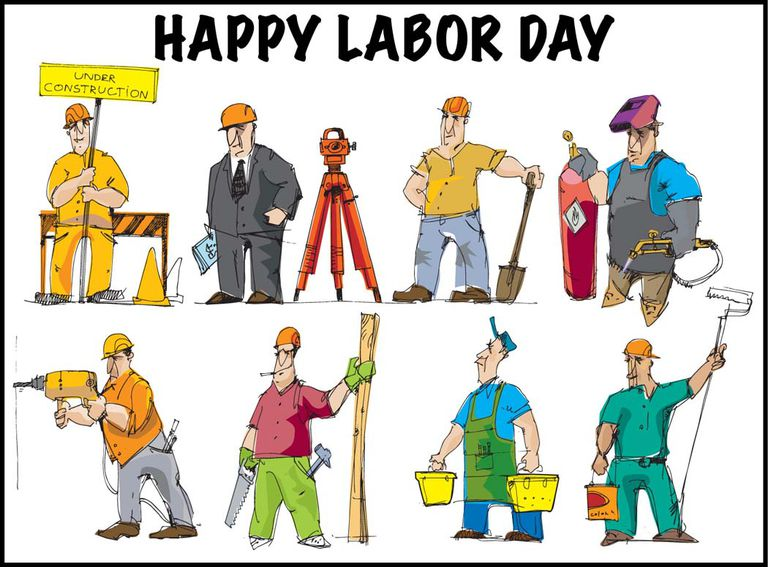 Clip Art of Labor Day Workers