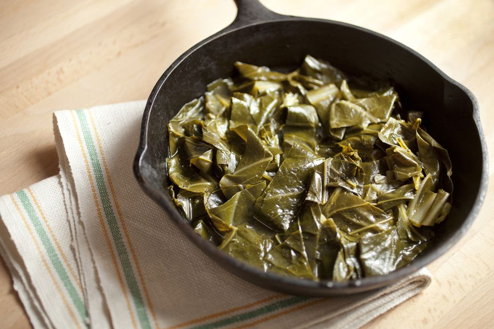 Collard greens in a cast iron skillet
