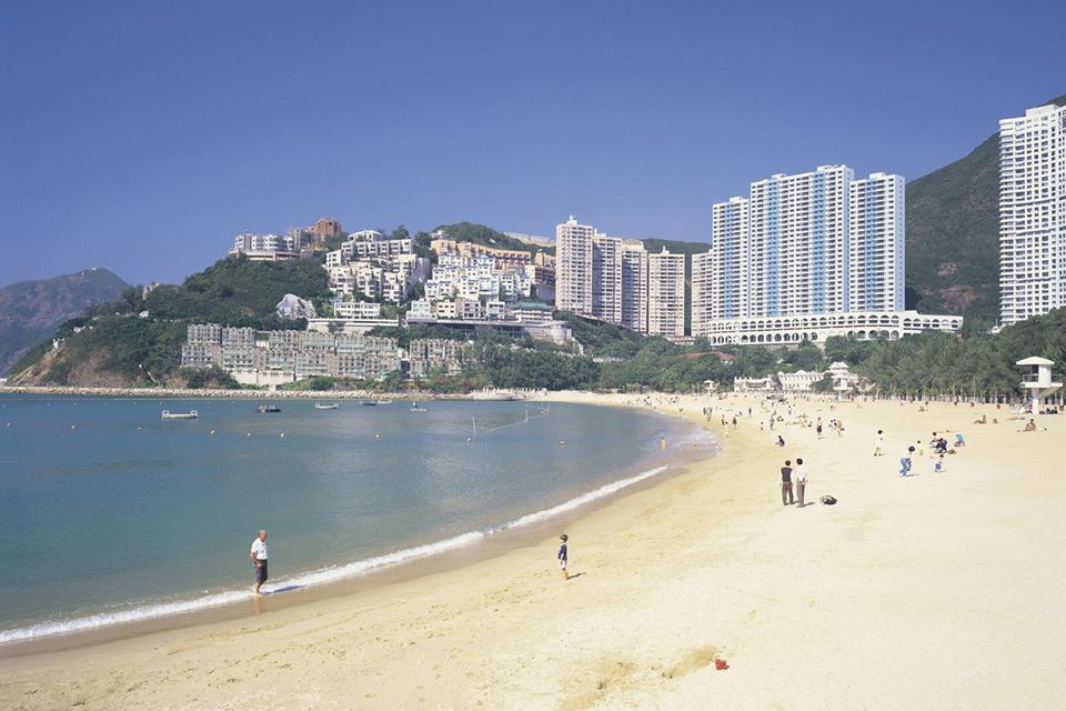 Image of the Beach of Repulse Bay, Surrounded By Mountains and Hotels, Side View, Hong Kong, China