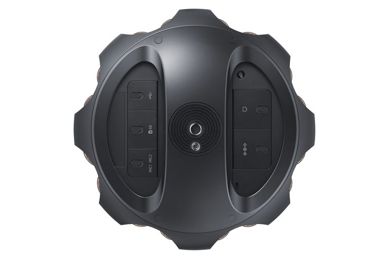 The Samsung Round 360 includes 17 cameras and 6 on-board microphones as well as expandable external storage.
