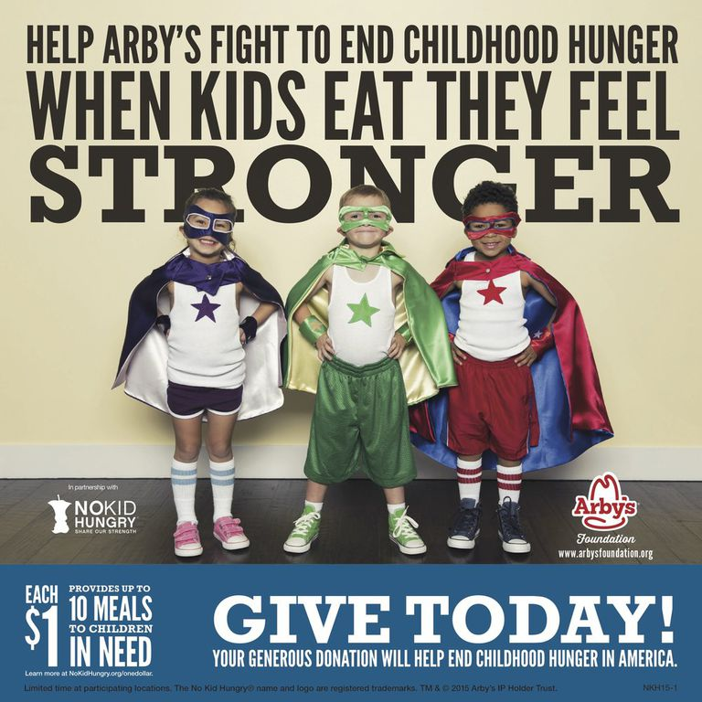 Ad for cause campaign by Arby's and NoKidHungry