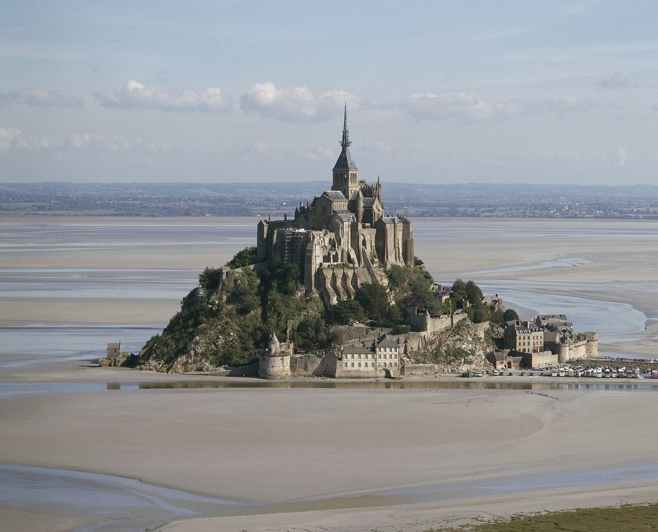 A view of Mont St Michel at low tide