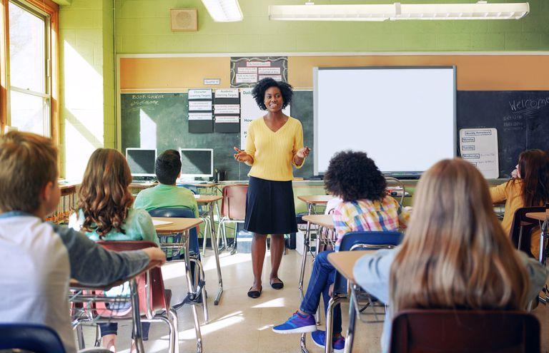 Teacher educating a group of elementary children