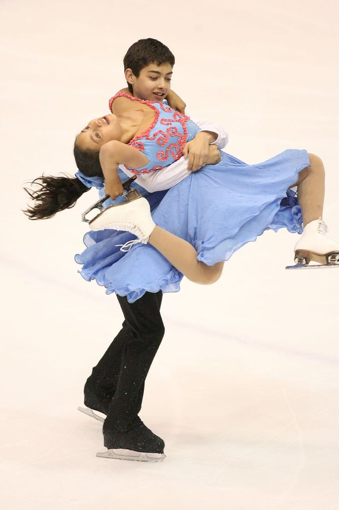 A Young Ice Dance Team Does a Free Dance Lift