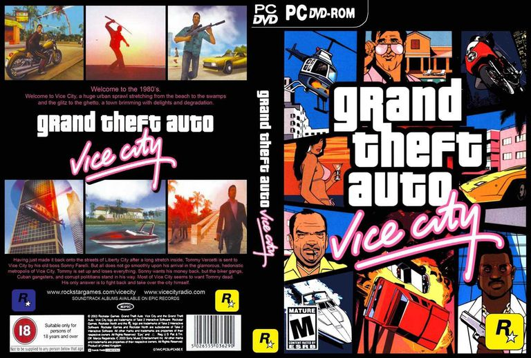 Front and back cover of the GTA: Vice City PC game