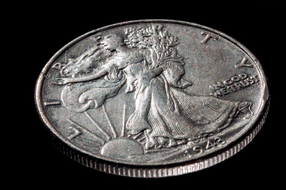 1943 American walking liberty half dollar coin