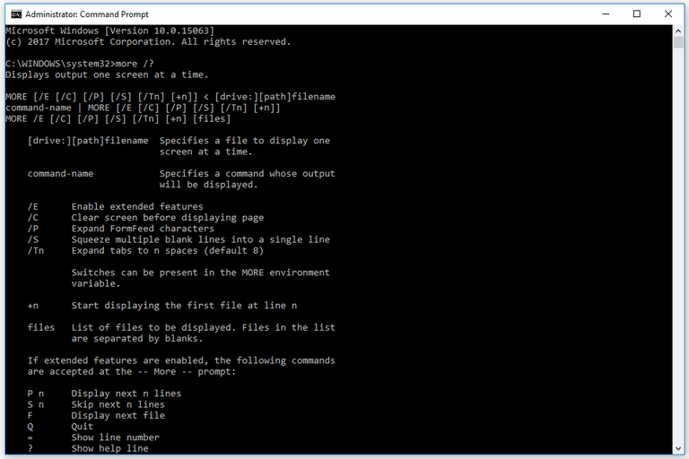 Screenshot of the More command in a Windows 10 Command Prompt