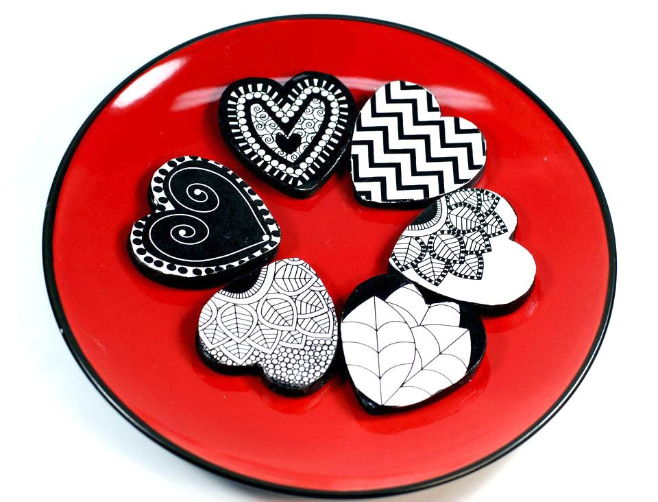 paper mache hearts on a plate