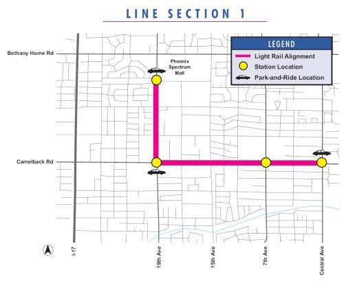 Phoenix Light Rail Line Map - Section 1