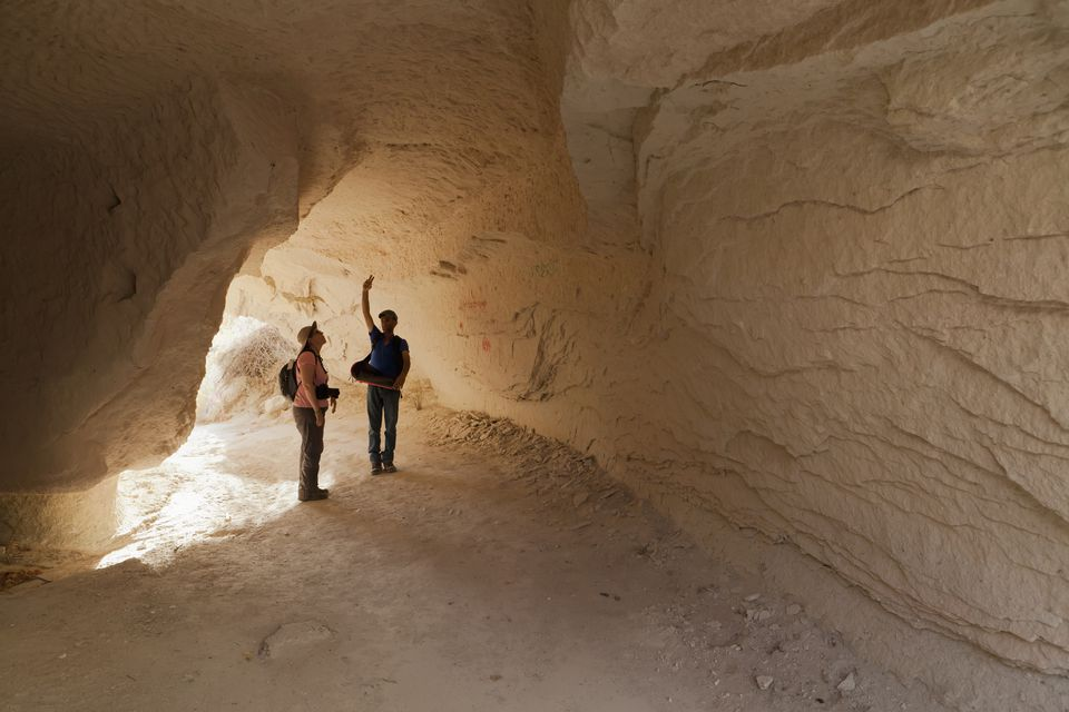 Hikers exploring the rock formations in Rose Valley