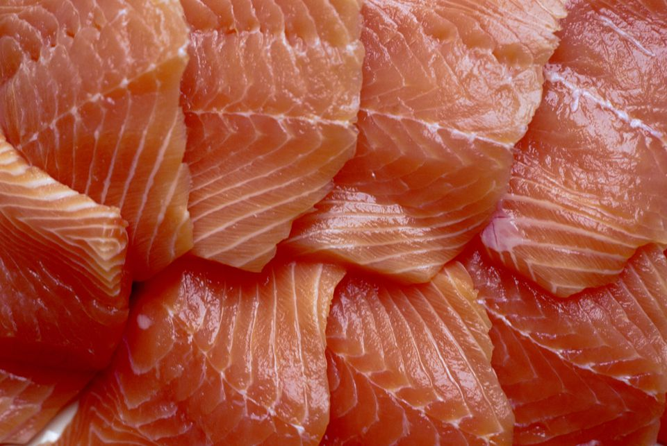 Salmon fillets, close up