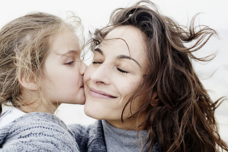 Daughter kissing mother outdoors