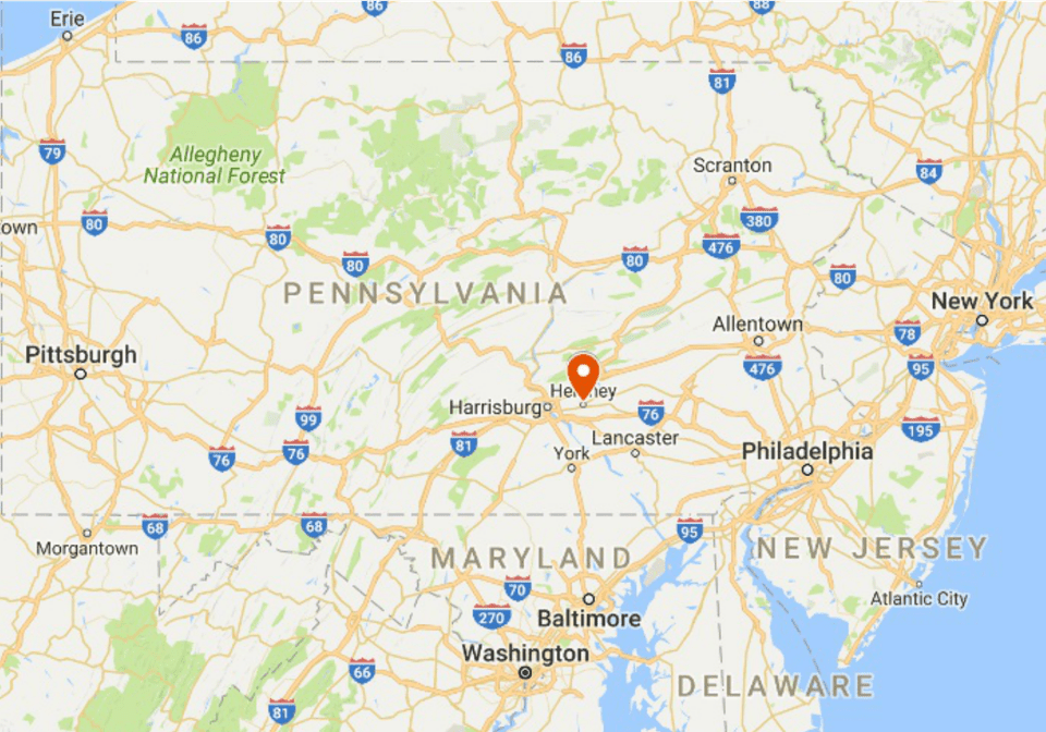 easy drive from new york city philadelphia baltimore and dc map of hershey pennsylvania