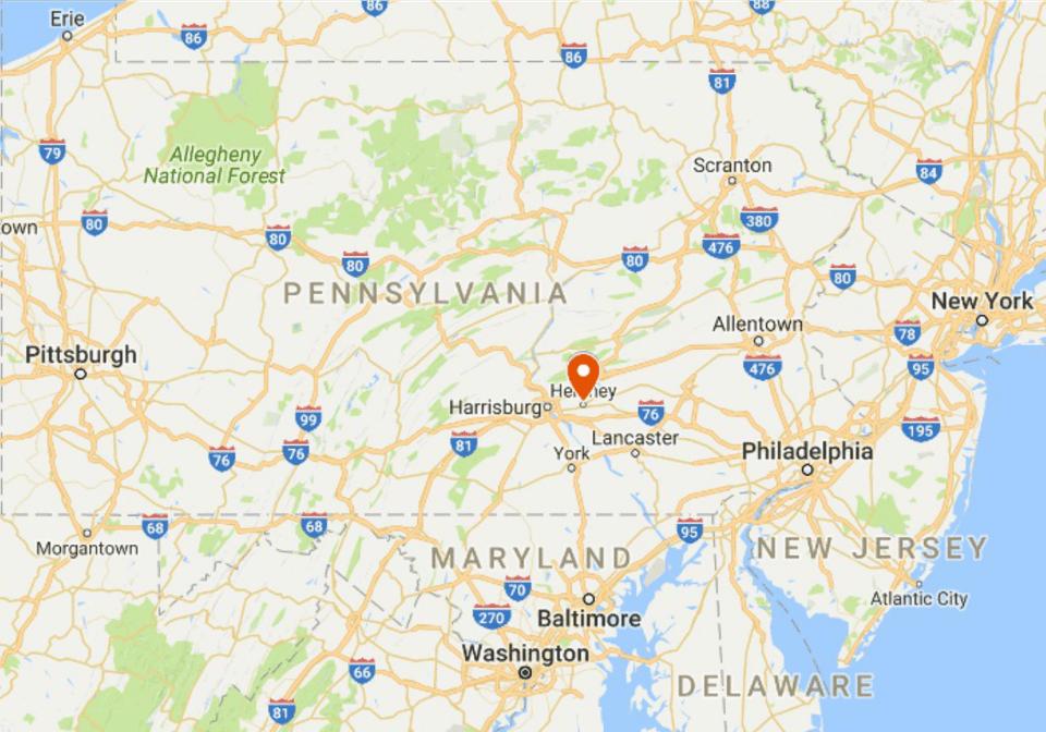 Map of Hershey, Pennsylvania