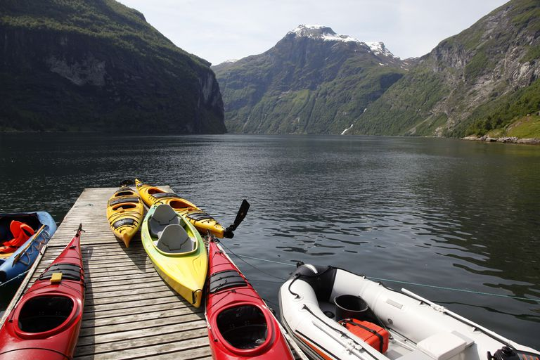kayaks in Norway at the Geiranger Fjord