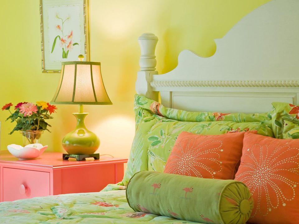Orange Green And Yellow Bedroom
