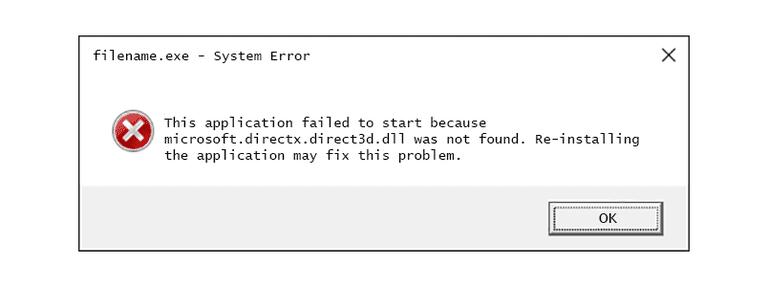 Screenshot of a microsoft.directx.direct3d DLL error message in Windows