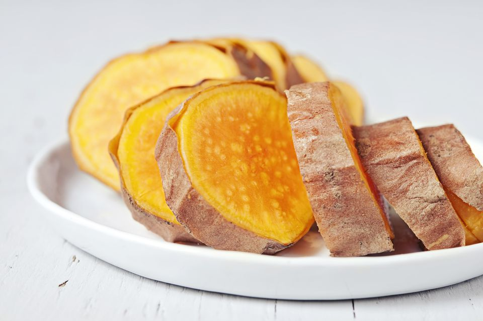 sliced baked sweet potatoes