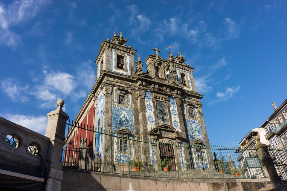 A cathedral against blue sky in porto church.