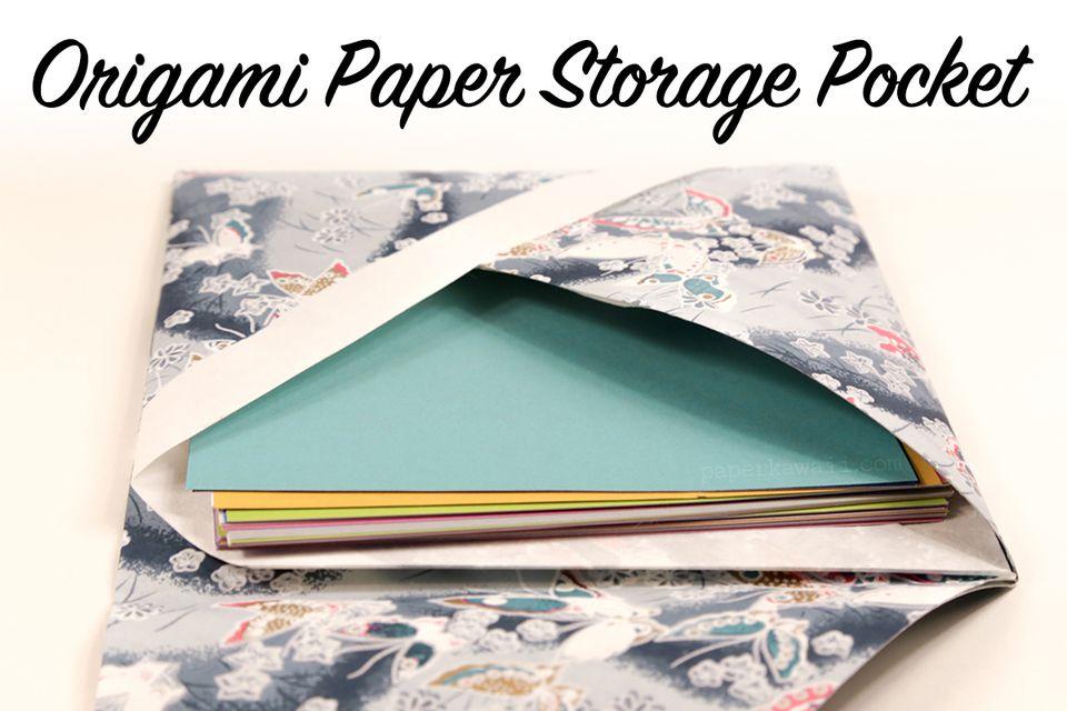 Origami paper storage pocket