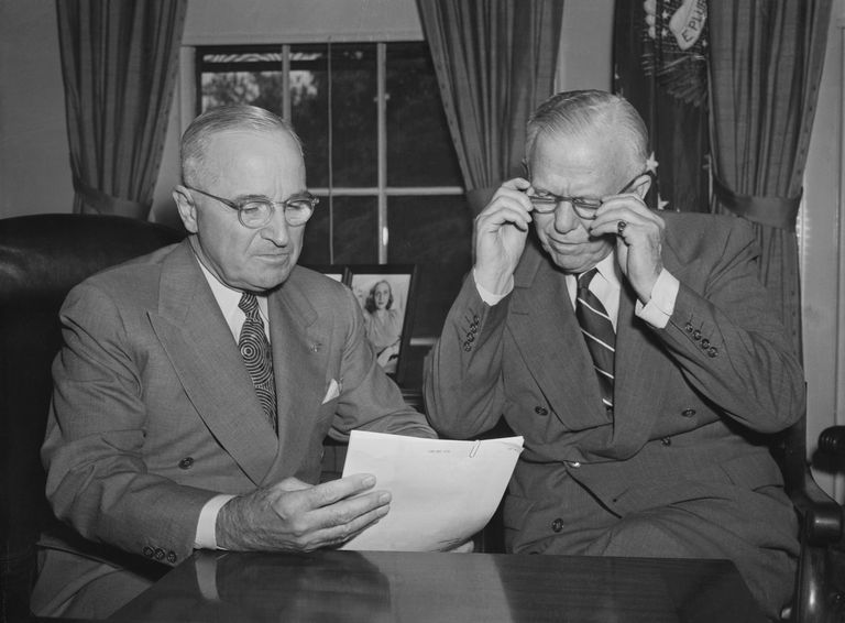 President Harry S. Truman with Defense Secretary George C. Marshall