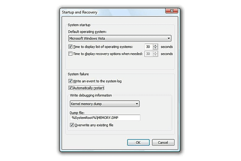 Screenshot of the Automatically Restart on System Failure Option in Windows Vista