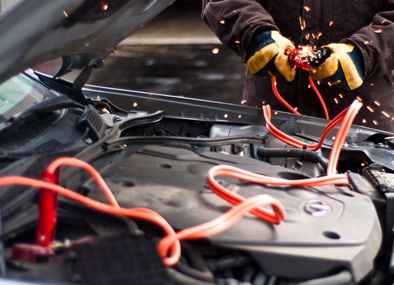 car battery jumper cables fire